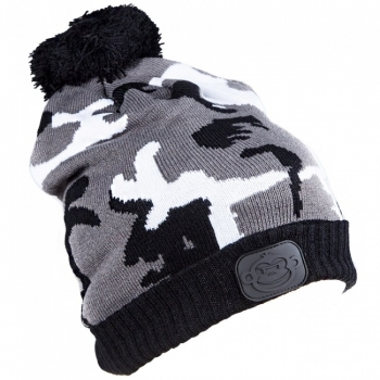 RidgeMonkey Camo Bobble Hat Black / White